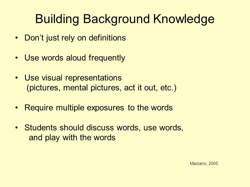Building Background Knowledge Dont just rely on definitions Use words aloud frequently Use visual representations (pictures, mental pictures, act it o