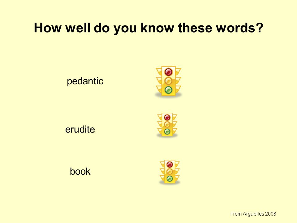 How well do you know these words? pedantic erudite book From Arguelles 2008