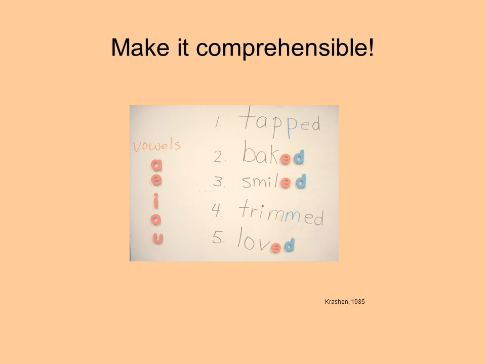 Make it comprehensible! Krashen, 1985
