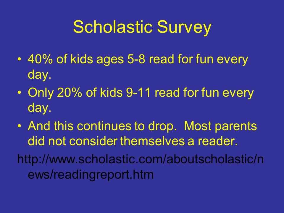 Scholastic Survey 40% of kids ages 5-8 read for fun every day.