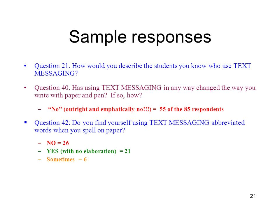 21 Sample responses Question 21.