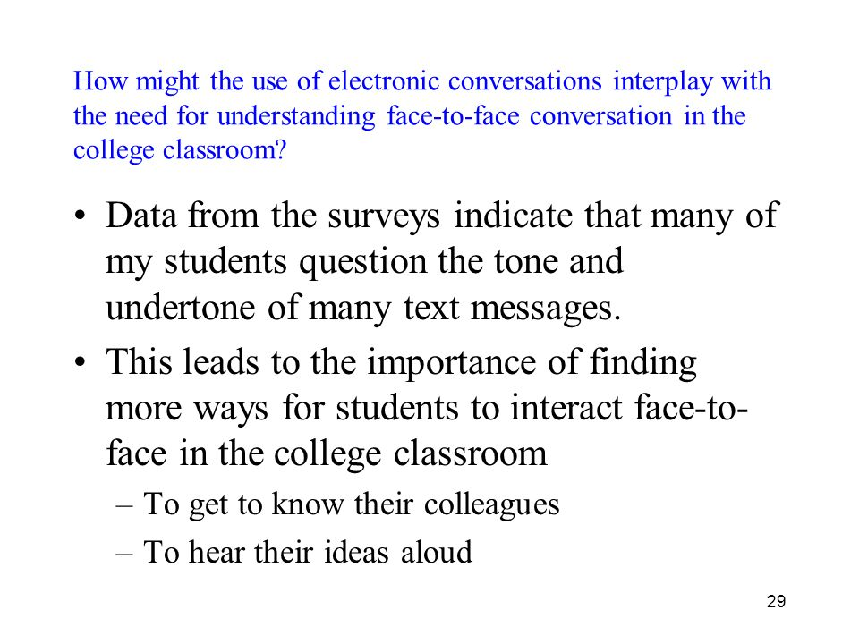 How might the use of electronic conversations interplay with the need for understanding face-to-face conversation in the college classroom.