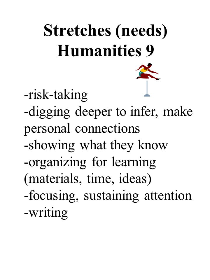 Stretches (needs) Humanities 9 -risk-taking -digging deeper to infer, make personal connections -showing what they know -organizing for learning (materials, time, ideas) -focusing, sustaining attention -writing