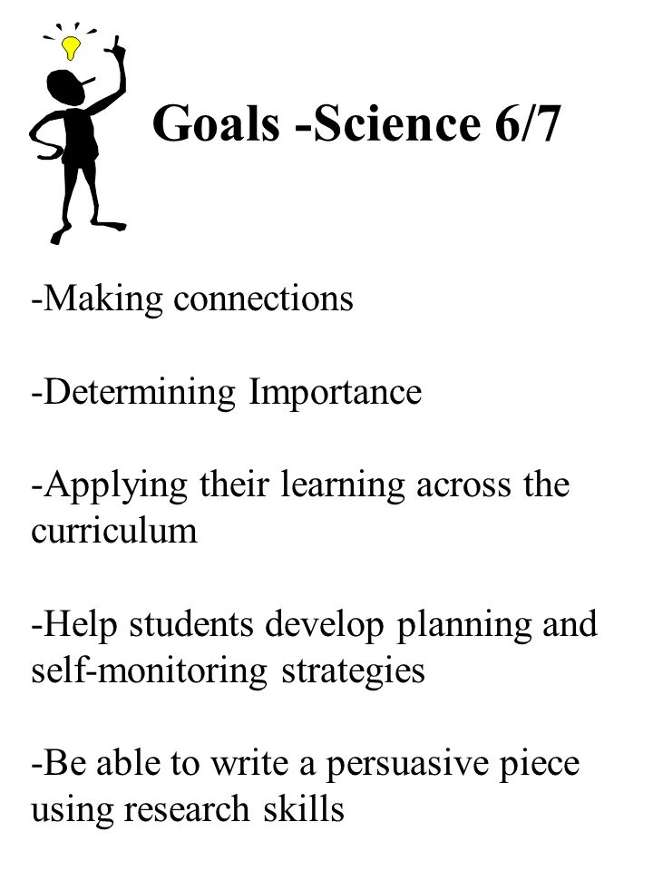 Goals -Science 6/7 -Making connections -Determining Importance -Applying their learning across the curriculum -Help students develop planning and self-monitoring strategies -Be able to write a persuasive piece using research skills