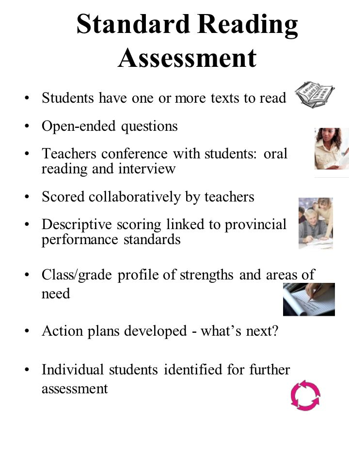 Standard Reading Assessment Students have one or more texts to read Open-ended questions Teachers conference with students: oral reading and interview