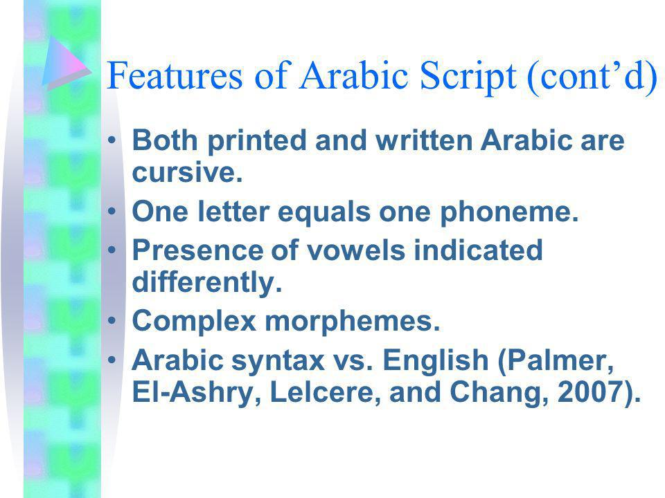 Features of Arabic Script (contd) Both printed and written Arabic are cursive. One letter equals one phoneme. Presence of vowels indicated differently