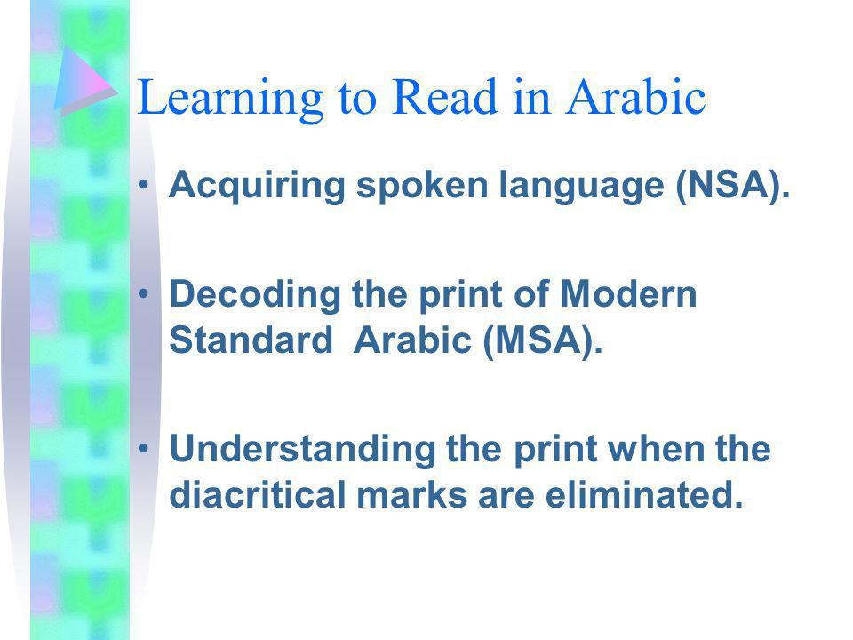 Learning to Read in Arabic Acquiring spoken language (NSA). Decoding the print of Modern Standard Arabic (MSA). Understanding the print when the diacr