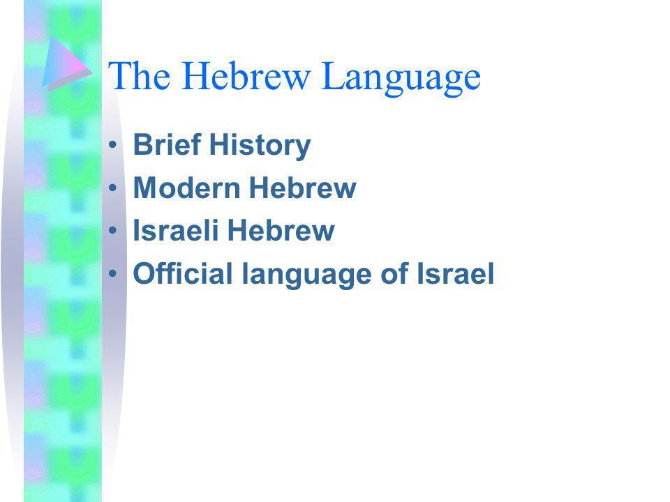 The Hebrew Language Brief History Modern Hebrew Israeli Hebrew Official language of Israel