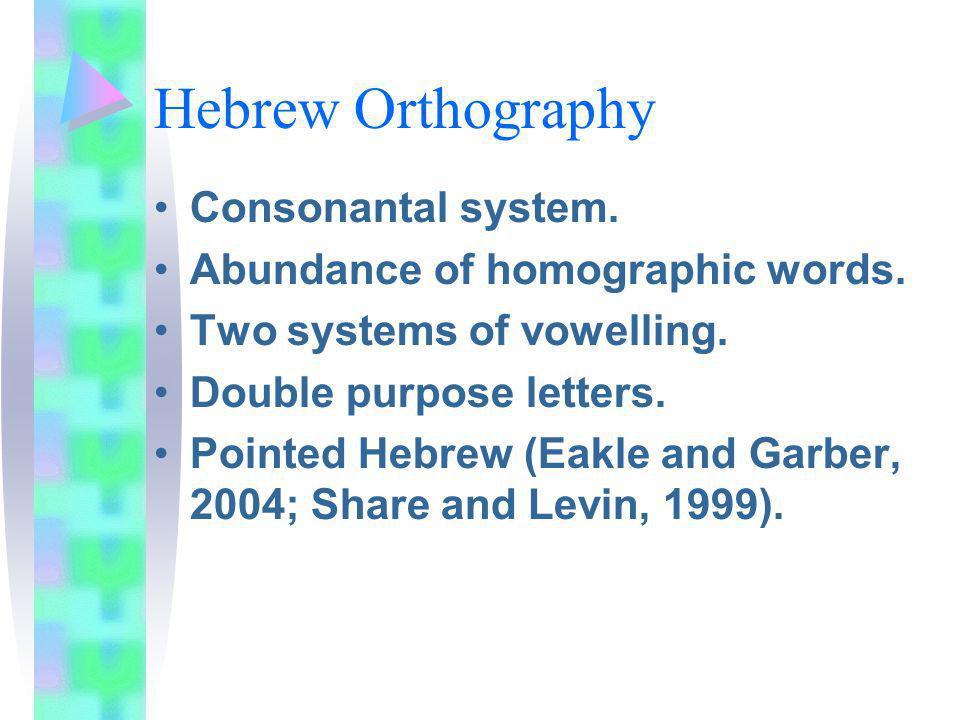 Hebrew Orthography Consonantal system. Abundance of homographic words.