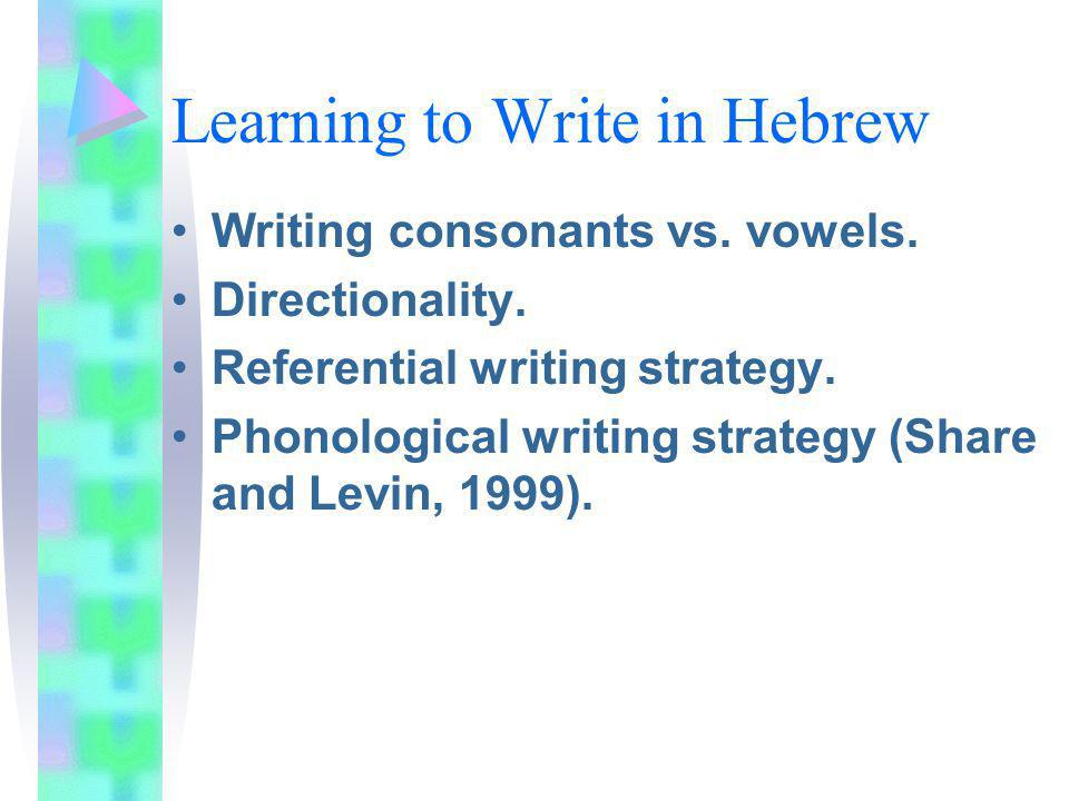 Learning to Write in Hebrew Writing consonants vs. vowels. Directionality. Referential writing strategy. Phonological writing strategy (Share and Levi