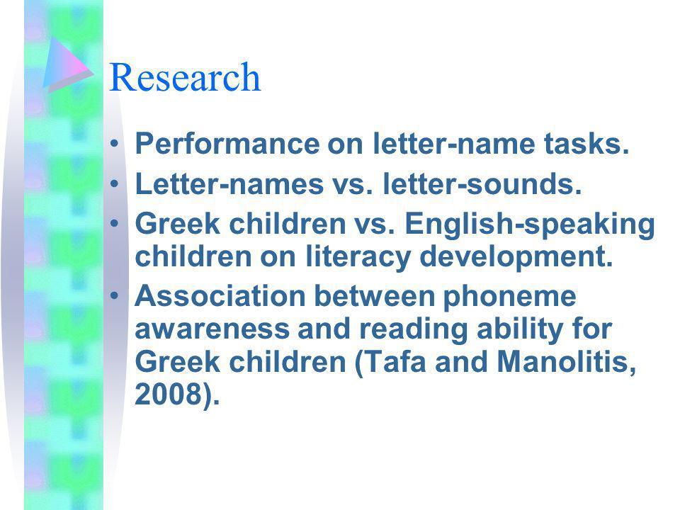 Research Performance on letter-name tasks. Letter-names vs.