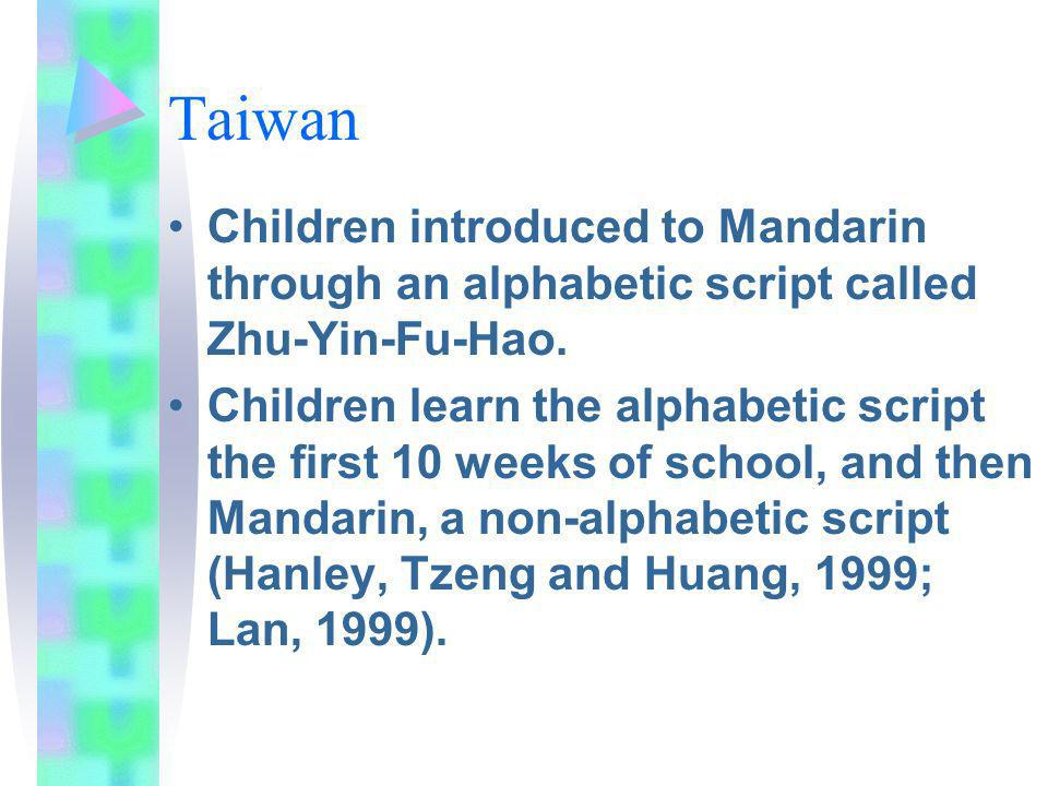 Taiwan Children introduced to Mandarin through an alphabetic script called Zhu-Yin-Fu-Hao.