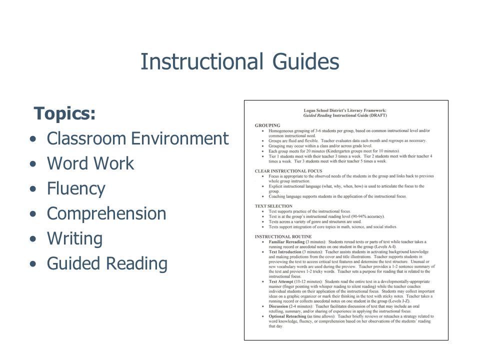 Instructional Guides Topics: Classroom Environment Word Work Fluency Comprehension Writing Guided Reading