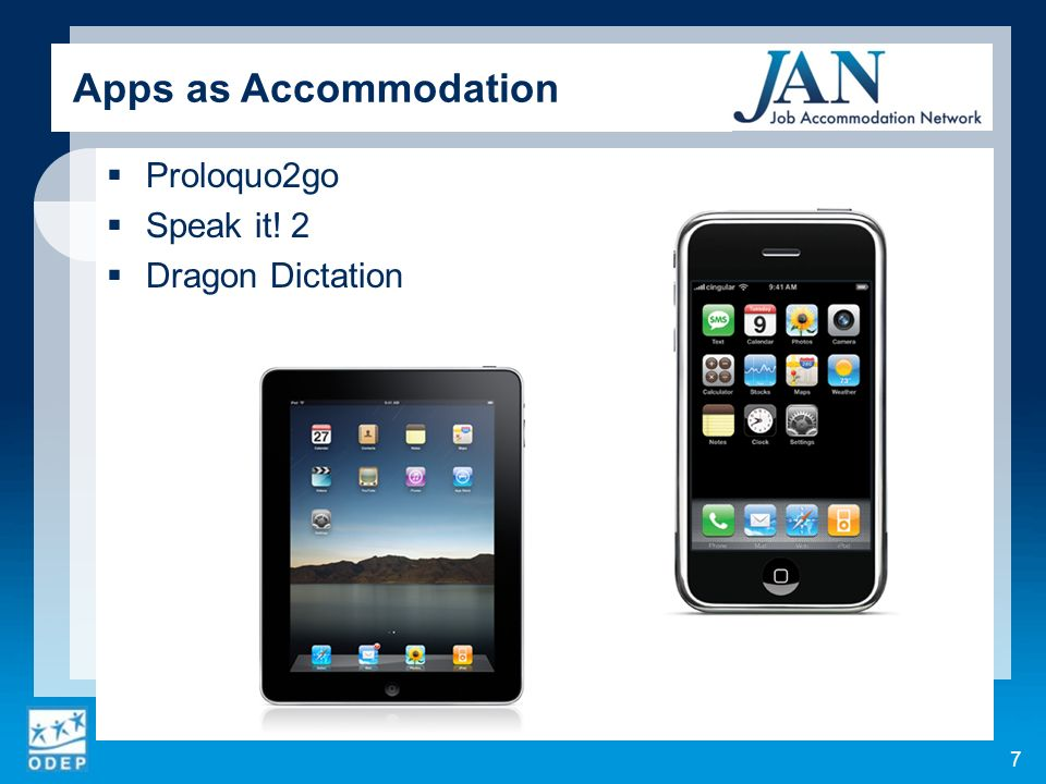 Proloquo2go Speak it! 2 Dragon Dictation 7 Apps as Accommodation