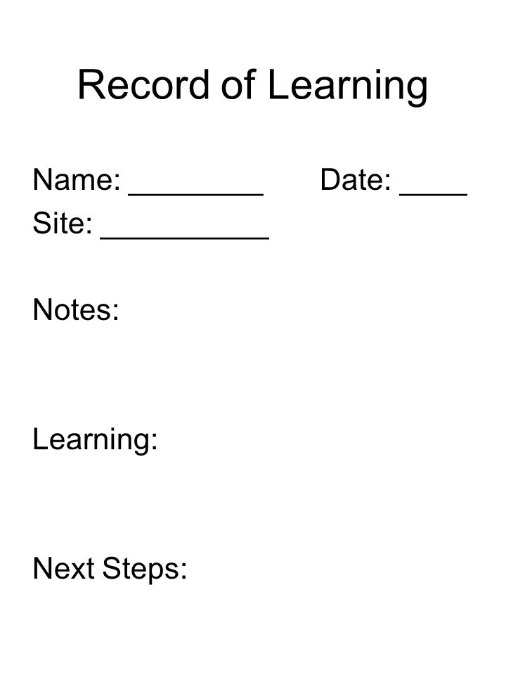 Record of Learning Name: ________ Date: ____ Site: __________ Notes: Learning: Next Steps: