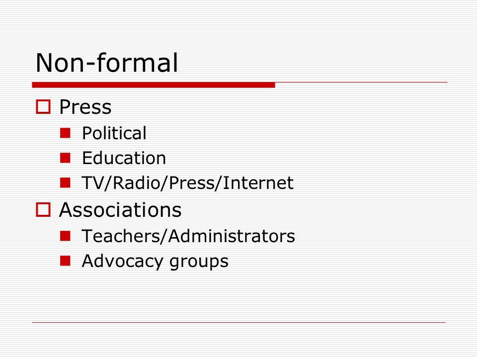 Non-formal Press Political Education TV/Radio/Press/Internet Associations Teachers/Administrators Advocacy groups