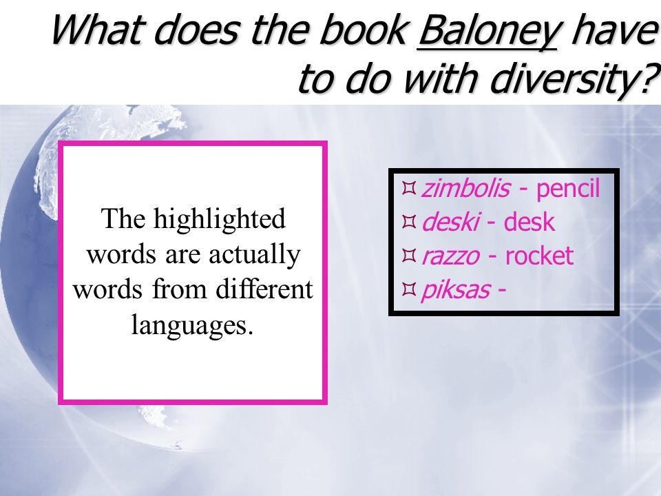 What does the book Baloney have to do with diversity.