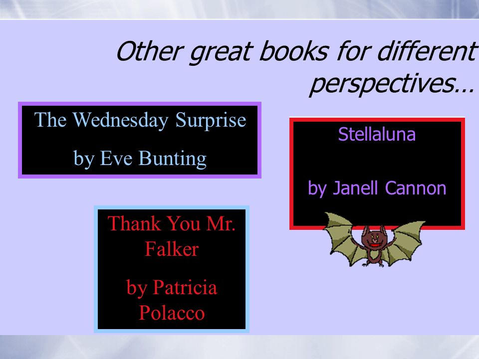 Other great books for different perspectives… Stellaluna by Janell Cannon Stellaluna by Janell Cannon The Wednesday Surprise by Eve Bunting Thank You Mr.