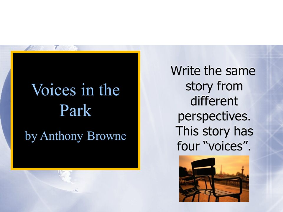 Write the same story from different perspectives. This story has four voices.
