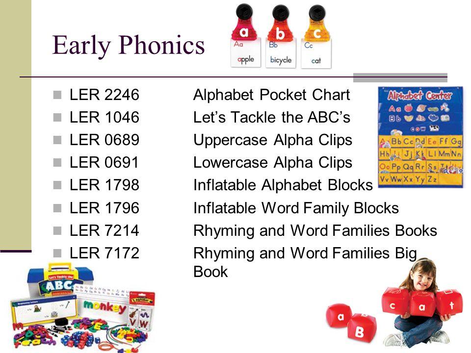 Early Phonics LER 2246Alphabet Pocket Chart LER 1046Lets Tackle the ABCs LER 0689Uppercase Alpha Clips LER 0691Lowercase Alpha Clips LER 1798Inflatabl