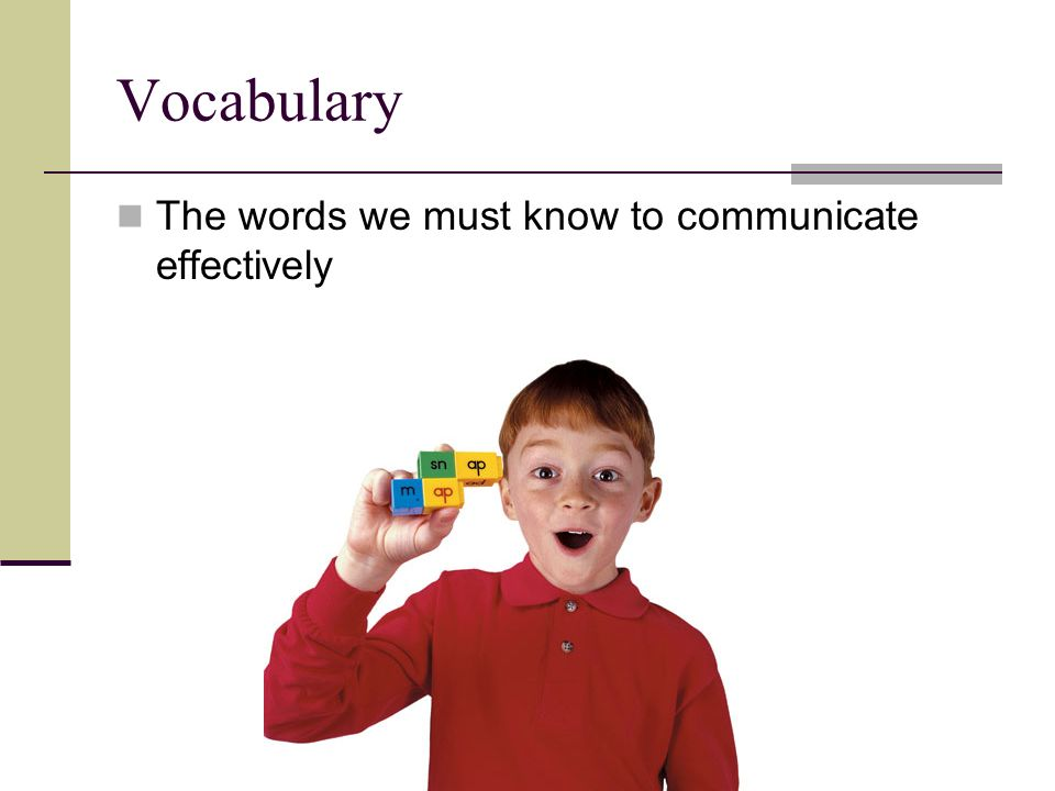 Vocabulary The words we must know to communicate effectively