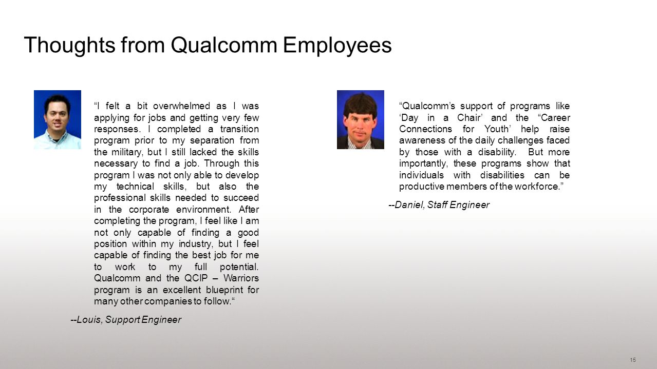 15 Thoughts from Qualcomm Employees I felt a bit overwhelmed as I was applying for jobs and getting very few responses.