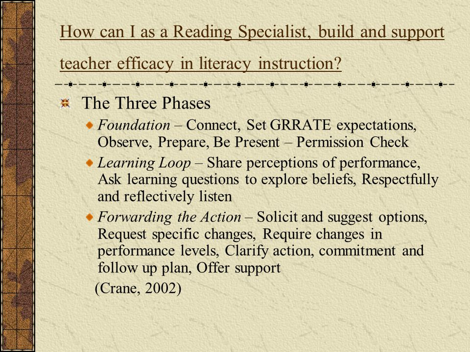 How can I as a Reading Specialist, build and support teacher efficacy in literacy instruction? The Three Phases Foundation – Connect, Set GRRATE expec