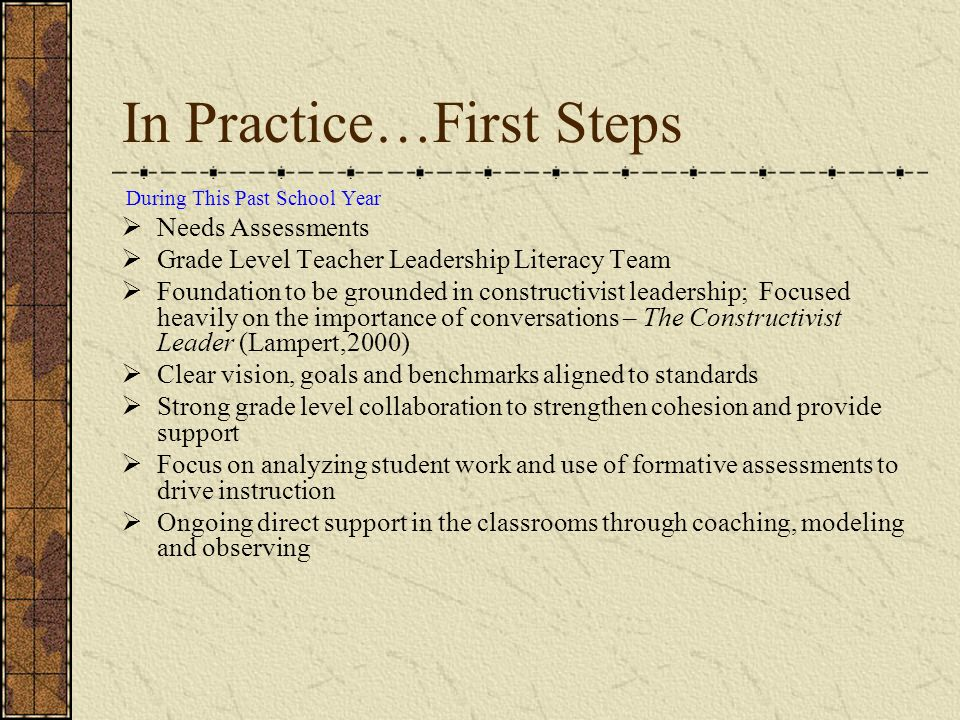 In Practice…First Steps During This Past School Year Needs Assessments Grade Level Teacher Leadership Literacy Team Foundation to be grounded in const