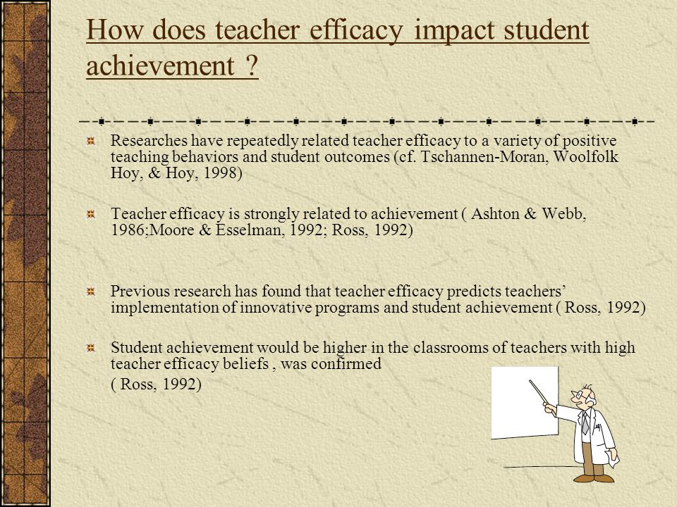 How does teacher efficacy impact student achievement ? Researches have repeatedly related teacher efficacy to a variety of positive teaching behaviors