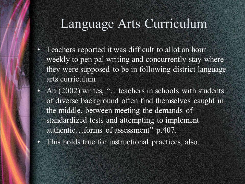 Language Arts Curriculum Teachers reported it was difficult to allot an hour weekly to pen pal writing and concurrently stay where they were supposed