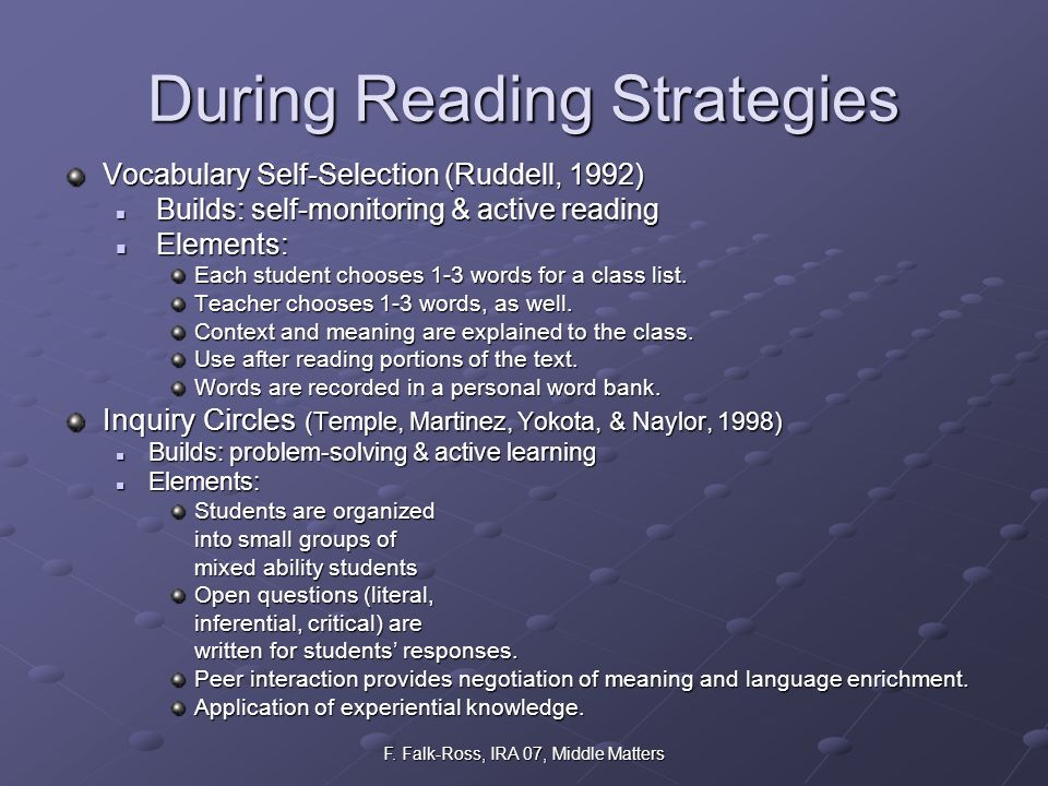 F. Falk-Ross, IRA 07, Middle Matters During Reading Strategies Vocabulary Self-Selection (Ruddell, 1992) Builds: self-monitoring & active reading Buil