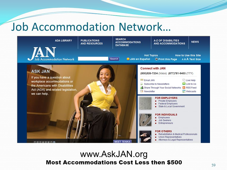 Job Accommodation Network…   Most Accommodations Cost Less then $500 59