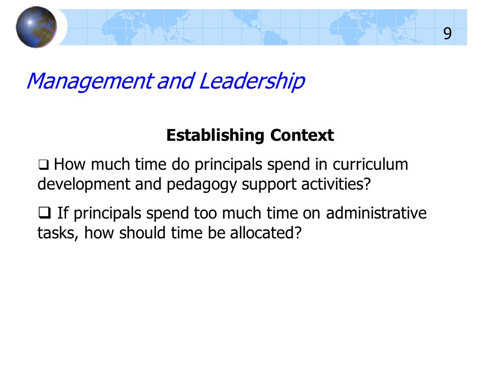 Establishing Context How much time do principals spend in curriculum development and pedagogy support activities? If principals spend too much time on