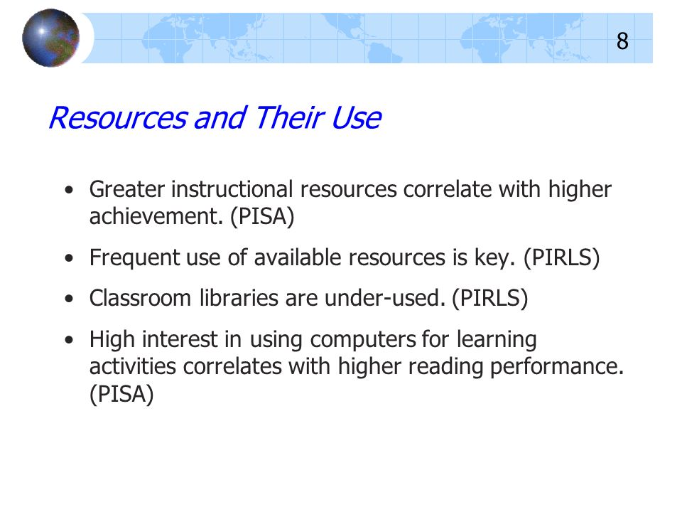Greater instructional resources correlate with higher achievement.