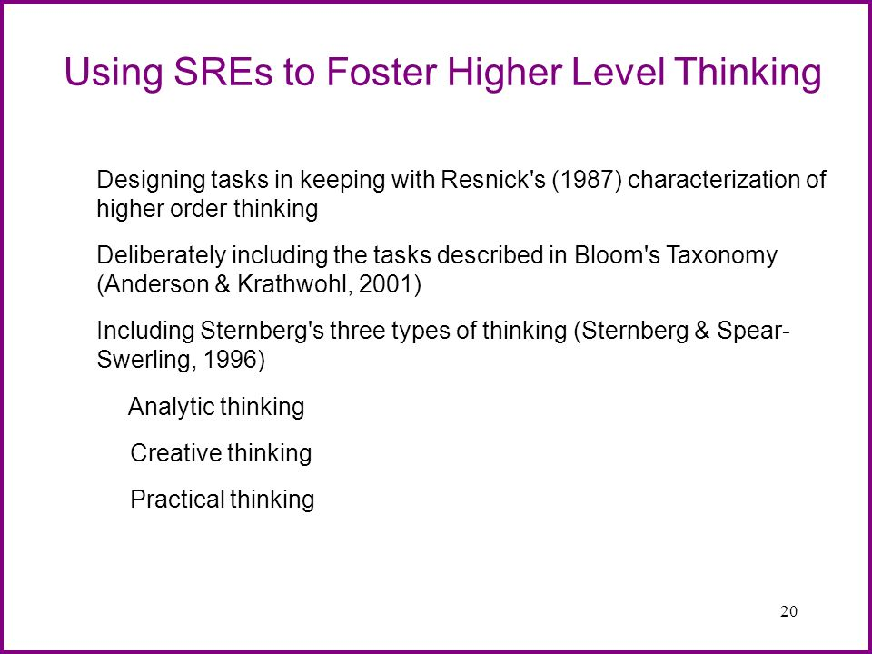 20 Using SREs to Foster Higher Level Thinking Designing tasks in keeping with Resnick's (1987) characterization of higher order thinking Deliberately