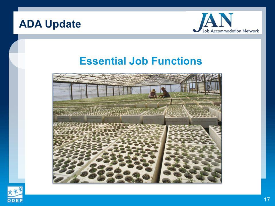 Essential Job Functions 17 ADA Update