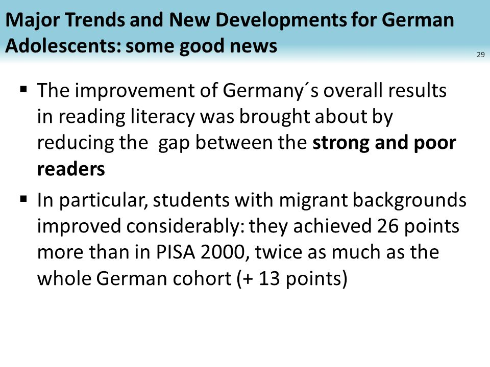 Major Trends and New Developments for German Adolescents: some good news The improvement of Germany´s overall results in reading literacy was brought about by reducing the gap between the strong and poor readers In particular, students with migrant backgrounds improved considerably: they achieved 26 points more than in PISA 2000, twice as much as the whole German cohort (+ 13 points) 29
