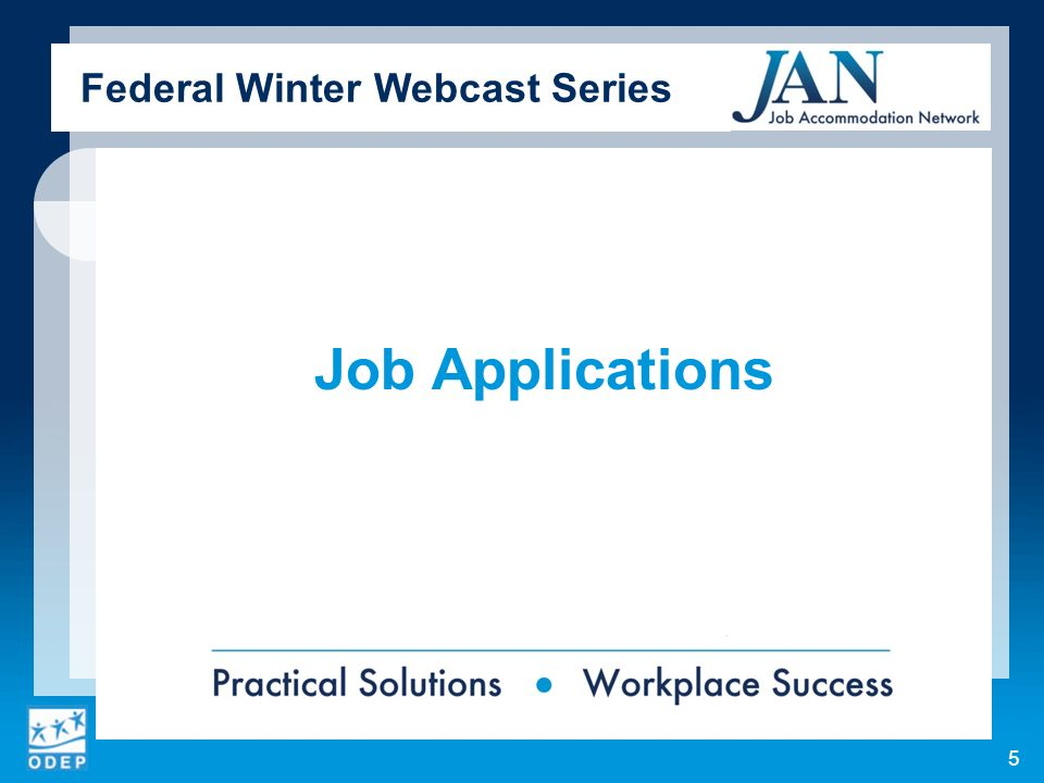 Job Applications Federal Winter Webcast Series 5