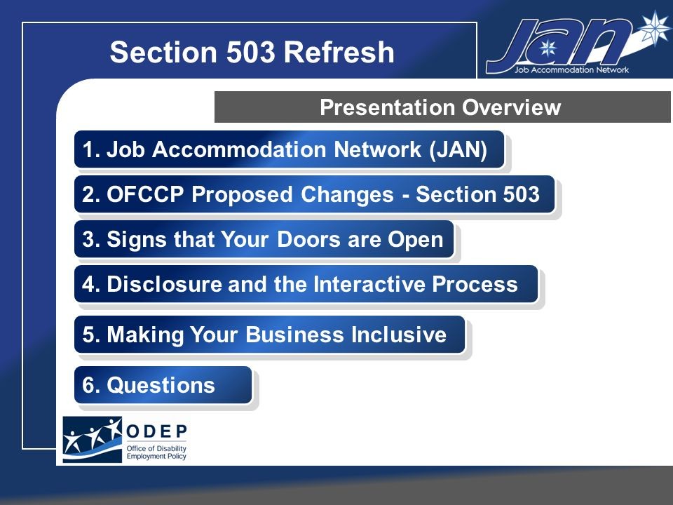 JANs Interactive Process Step 3: Exploring Accommodation Options TIPS Keep an open mind Invite the employee to suggest accommodations Ask the employees medical provider for ideas Use JAN when needed