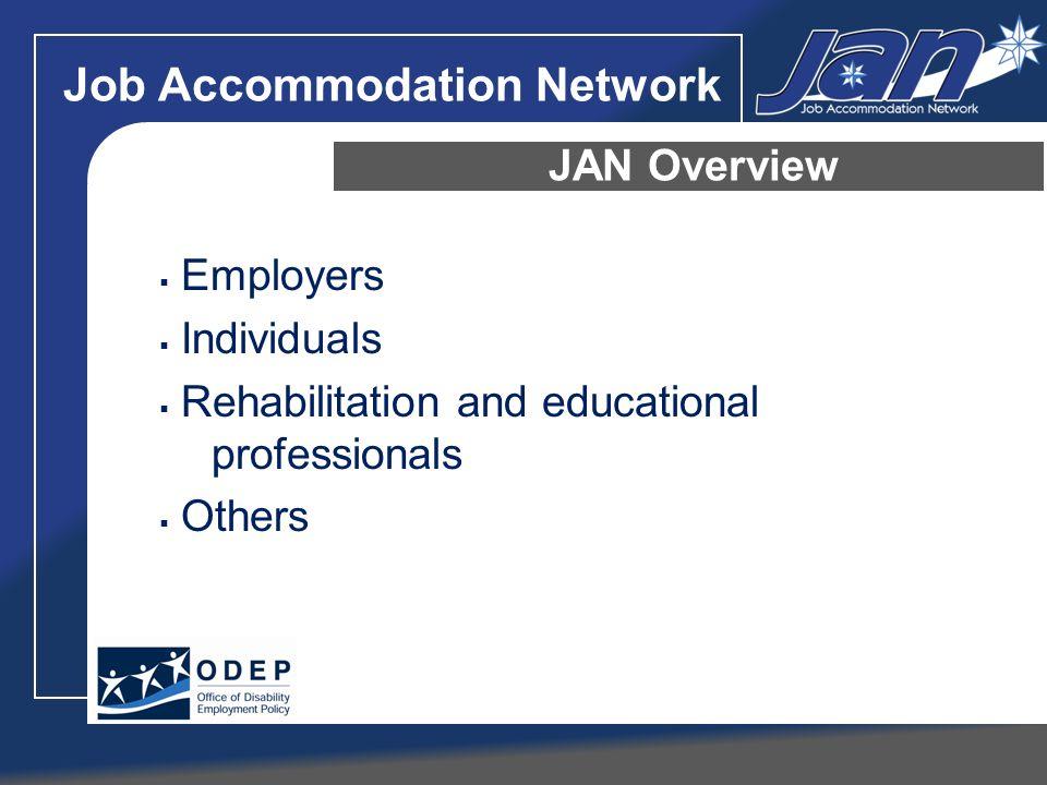 Job Accommodation Network JAN Overview Motor/Mobility Cognitive/Psychiatric Sensory Self-employment