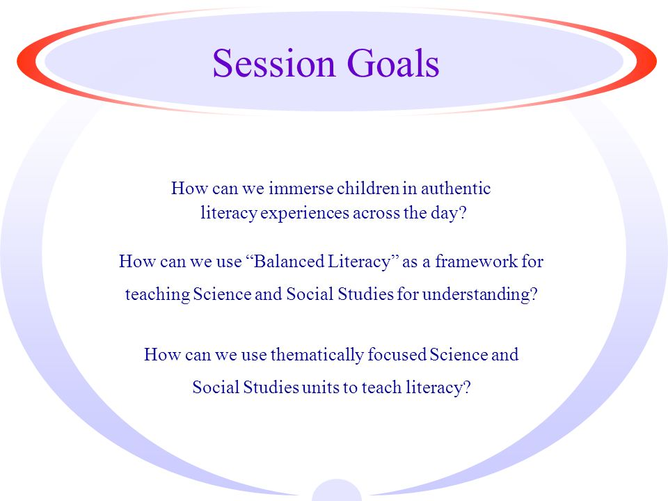 Session Goals How can we immerse children in authentic literacy experiences across the day.