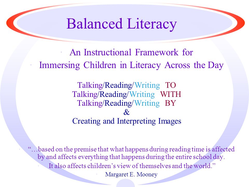Role of Teacher and Child Teacher Support Child Responsibility TO Talking TO Children Read Aloud Modeled Writing Modeled Speaking WITH Talking With Children Shared Reading Guided Reading LEA Morning Message BY Self-Selected Reading Independent Reading Writing Workshop-writing Buzz Groups