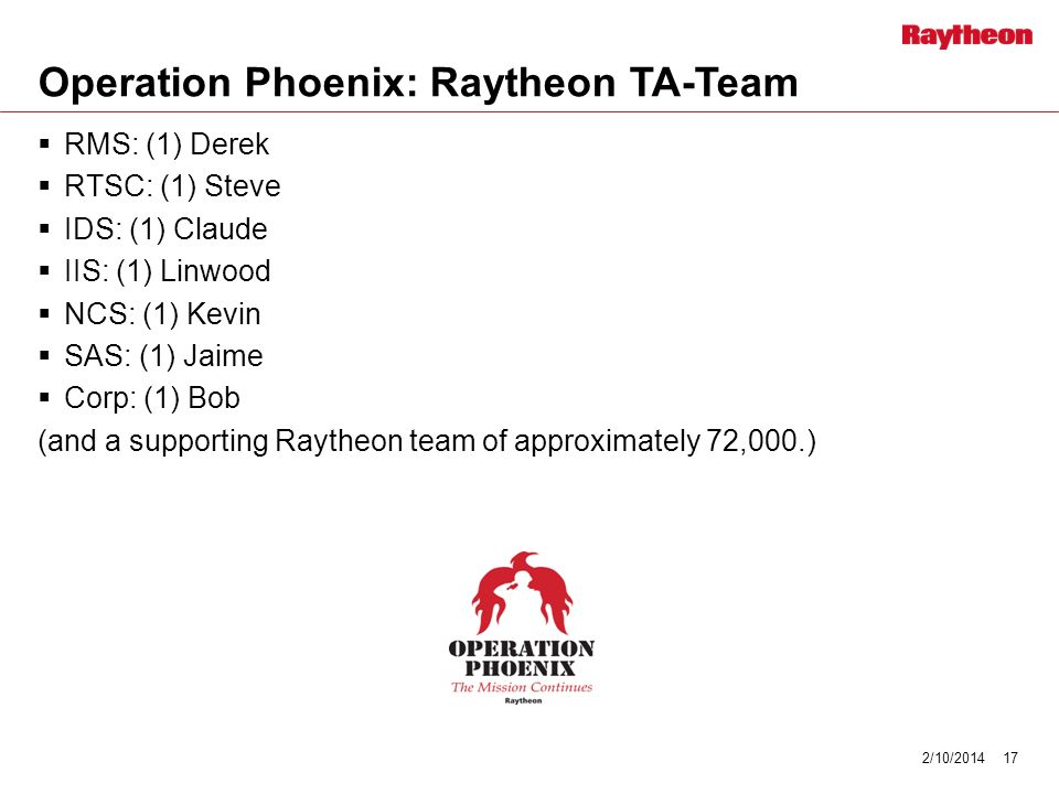 Operation Phoenix: Raytheon TA-Team RMS: (1) Derek RTSC: (1) Steve IDS: (1) Claude IIS: (1) Linwood NCS: (1) Kevin SAS: (1) Jaime Corp: (1) Bob (and a supporting Raytheon team of approximately 72,000.) 2/10/201417