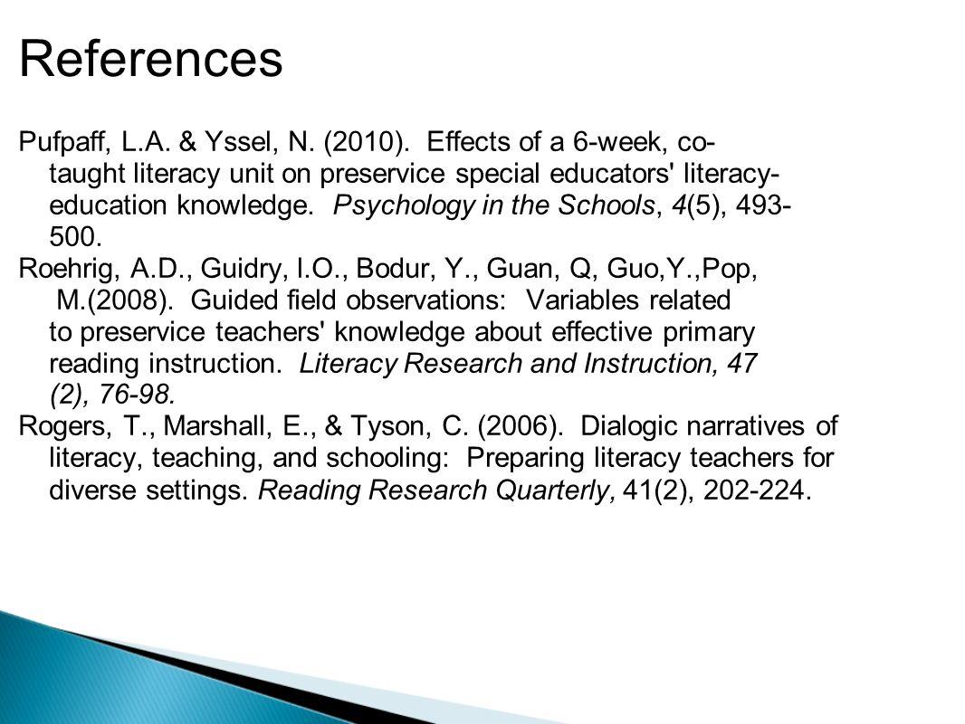 References Pufpaff, L.A. & Yssel, N. (2010).
