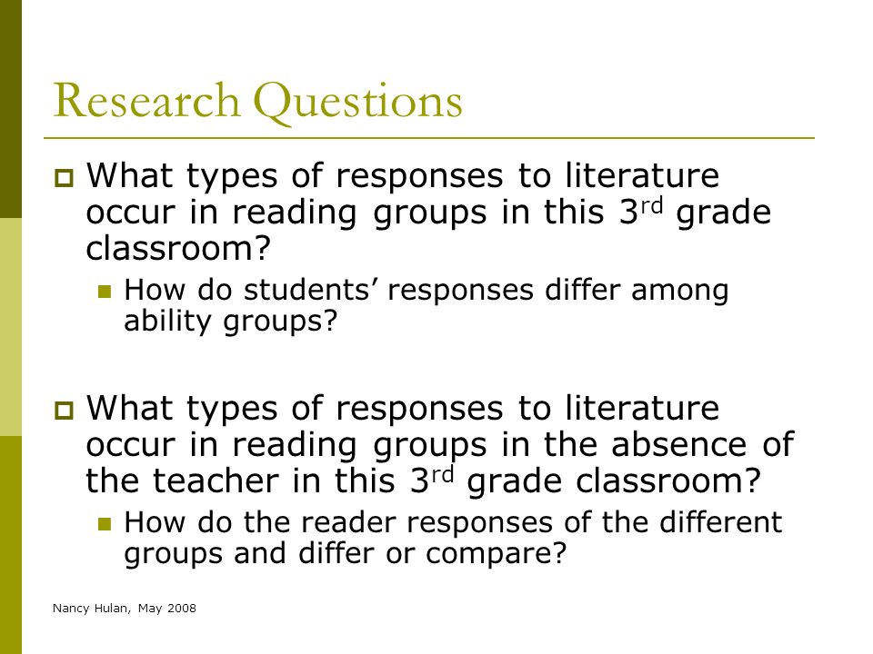 Nancy Hulan, May 2008 Research Questions What types of responses to literature occur in reading groups in this 3 rd grade classroom? How do students r