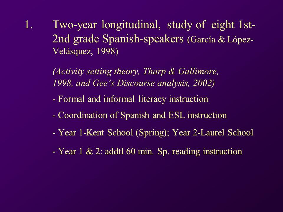 1. Two-year longitudinal, study of eight 1st- 2nd grade Spanish-speakers (García & López- Velásquez, 1998) (Activity setting theory, Tharp & Gallimore