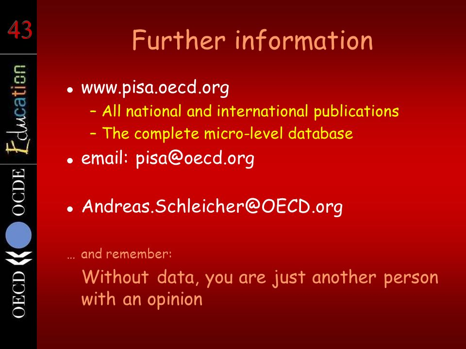 Further information www.pisa.oecd.org –All national and international publications –The complete micro-level database email: pisa@oecd.org Andreas.Sch