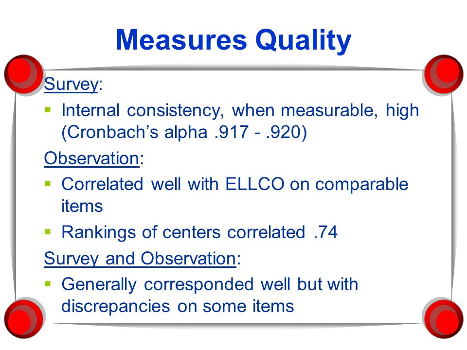 Measures Quality Survey: Internal consistency, when measurable, high (Cronbachs alpha.917 -.920) Observation: Correlated well with ELLCO on comparable