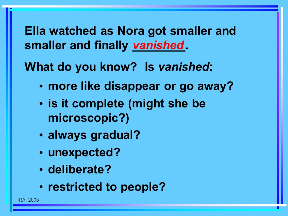 IRA, 2008 Ella watched as Nora got smaller and smaller and finally ________. vanished more like disappear or go away? is it complete (might she be mic