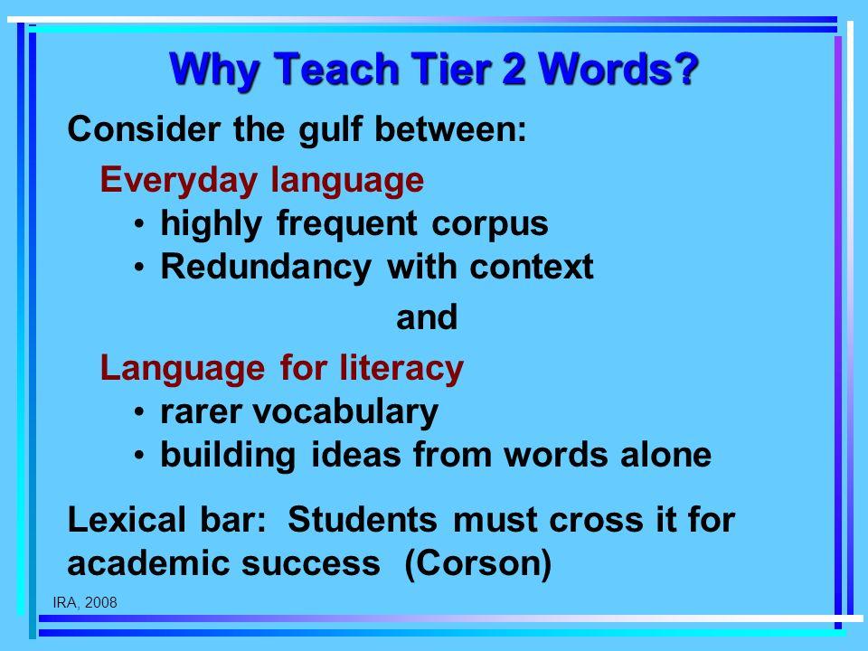 IRA, 2008 Why Teach Tier 2 Words.